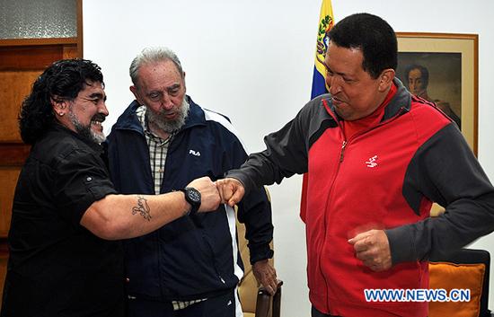 (2)CUBA-HABANA-POLITICA-CASTRO-CHAVEZ-MARADONA-REUNION