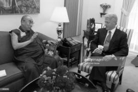 371330 01: The Dalai Lama speaks with U.S. President Bill Clinton during the National Security Advisors meeting June 20, 2000 at the White House. President Clinton praised the exiled leader of the Tibetan people for his continual efforts to foster a political dialogue with China. He also pledged the United States support for Tibetan human rights, and their religious and cultural heritage. (Photo by Ralph Alswang/Newsmakers
