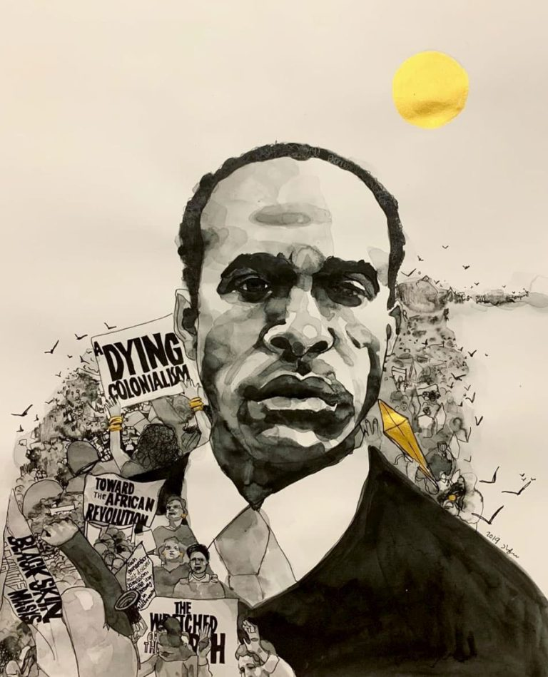 Suhad-Khatib-Frantz-Fanon-ink-on-paper-18×24-2019.